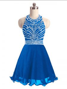 Perfect Mini Length Lace Up Cocktail Dresses Blue for Prom and Party and Military Ball with Beading