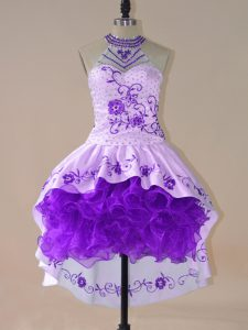 Halter Top Long Sleeves Lace Up Cocktail Dress Purple Satin and Organza
