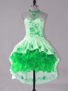 Ball Gowns Club Wear Green Halter Top Satin and Organza Sleeveless High Low Lace Up