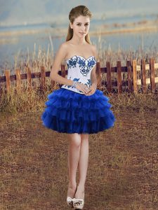 Mini Length Royal Blue Cocktail Dress Organza Sleeveless Embroidery and Ruffled Layers