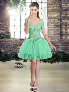 Stylish Tulle Off The Shoulder Sleeveless Lace Up Beading and Ruffles Cocktail Dresses in Apple Green