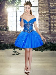 Best Selling Off The Shoulder Sleeveless Lace Up Club Wear Blue Tulle