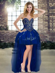 Flare Royal Blue Sweetheart Lace Up Beading and Embroidery Cocktail Dress Sleeveless