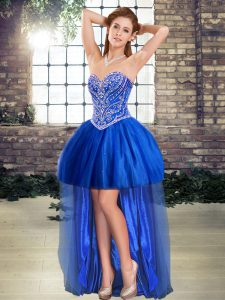Glittering Sweetheart Sleeveless Tulle Club Wear Beading Lace Up