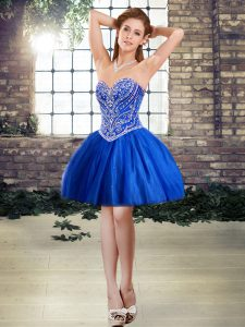 Hot Selling Royal Blue Tulle Lace Up Sweetheart Sleeveless Mini Length Cocktail Dresses Beading