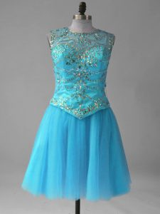 Charming Aqua Blue A-line Scoop Sleeveless Tulle Mini Length Lace Up Beading and Sequins Cocktail Dresses