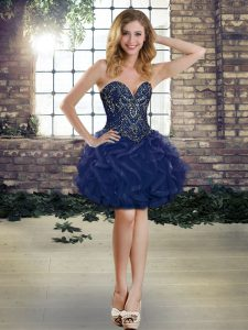 Amazing Ball Gowns Cocktail Dresses Navy Blue Sweetheart Tulle Sleeveless Mini Length Lace Up