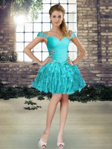 Decent Aqua Blue Sleeveless Mini Length Beading and Ruffles Lace Up Cocktail Dresses