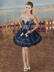 Sweetheart Sleeveless Cocktail Dresses Mini Length Beading and Embroidery Navy Blue Taffeta