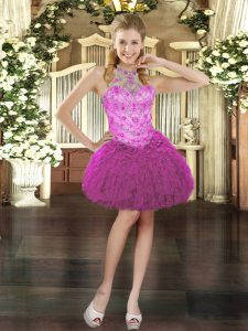 Fantastic Halter Top Sleeveless Organza Cocktail Dress Beading and Ruffles Lace Up