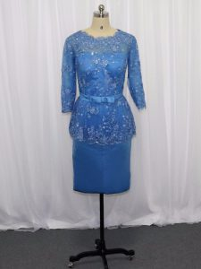 Blue Zipper Cocktail Dresses Lace and Appliques Long Sleeves Mini Length