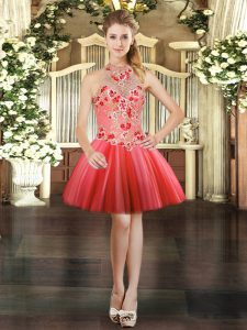 Halter Top Sleeveless Lace Up Cocktail Dresses Coral Red Tulle