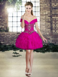 Graceful Fuchsia Lace Up Cocktail Dress Beading and Ruffles Sleeveless Mini Length