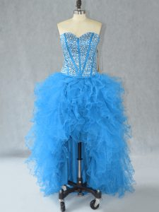 Aqua Blue A-line Sweetheart Sleeveless Organza High Low Lace Up Beading and Ruffles Cocktail Dresses