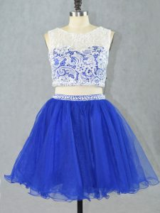 Glorious Royal Blue Two Pieces Scoop Sleeveless Organza Mini Length Zipper Lace and Appliques Cocktail Dresses