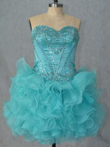 Beauteous Aqua Blue Sleeveless Beading and Ruffles Mini Length Cocktail Dresses
