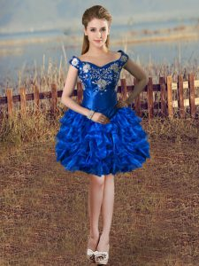 Decent Royal Blue Ball Gowns Off The Shoulder Sleeveless Organza Knee Length Lace Up Embroidery and Ruffles Club Wear