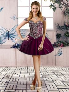 Custom Fit Beading Cocktail Dresses Purple Lace Up Sleeveless Mini Length