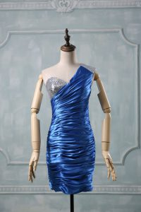 Enchanting Column/Sheath Cocktail Dress Blue One Shoulder Taffeta Sleeveless Mini Length Zipper