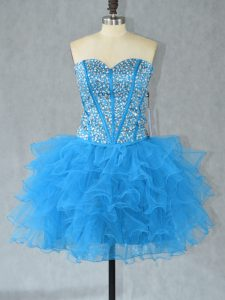 Cute Aqua Blue Ball Gowns Sweetheart Sleeveless Organza Mini Length Lace Up Beading and Ruffles Cocktail Dresses