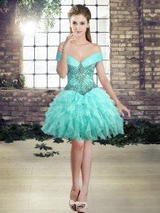 Sleeveless Organza Mini Length Lace Up Cocktail Dresses in Aqua Blue with Beading and Ruffles