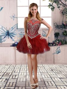 Enchanting Burgundy Scoop Neckline Beading and Ruffles Cocktail Dresses Sleeveless Zipper