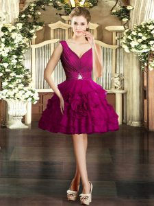 Fuchsia Organza Backless V-neck Sleeveless Mini Length Cocktail Dresses Beading and Ruffles