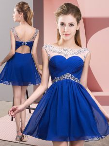 Romantic Royal Blue Backless Club Wear Beading and Ruching Sleeveless Mini Length