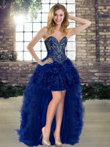 Fantastic Royal Blue Lace Up Cocktail Dresses Beading and Ruffles Sleeveless High Low