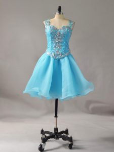 Mini Length Aqua Blue Cocktail Dresses Straps Sleeveless Zipper