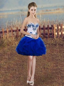 Elegant Mini Length Royal Blue Cocktail Dresses Sweetheart Sleeveless Lace Up
