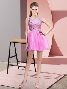 Glamorous Bateau Sleeveless Cocktail Dress Mini Length Beading Lilac Tulle