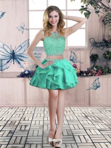 Classical Mini Length Zipper Cocktail Dress Apple Green for Prom and Party with Beading and Lace and Ruffles