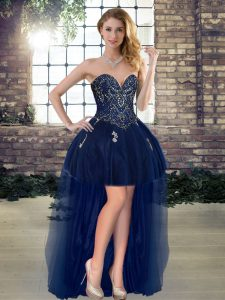Sweet Navy Blue Club Wear Prom and Party with Beading Sweetheart Sleeveless Lace Up