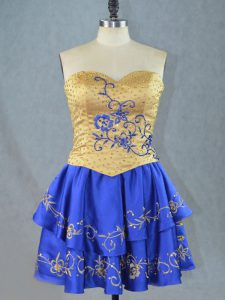 Satin Sweetheart Sleeveless Lace Up Beading and Embroidery Club Wear in Royal Blue