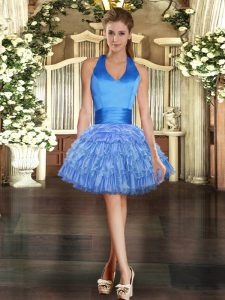 High Quality Ball Gowns Cocktail Dresses Blue Halter Top Organza Sleeveless Mini Length Lace Up