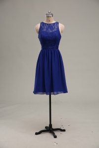 Super Knee Length Zipper Club Wear Royal Blue for Prom and Party and Military Ball with Lace
