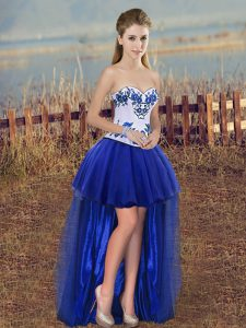 Customized High Low A-line Sleeveless Royal Blue Club Wear Lace Up