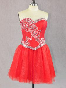 Custom Design Mini Length Red Cocktail Dress Sweetheart Sleeveless Lace Up