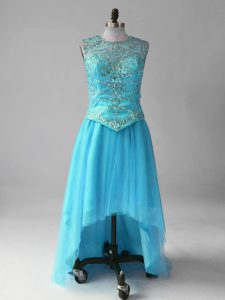 Tulle Sleeveless High Low Cocktail Dress and Beading