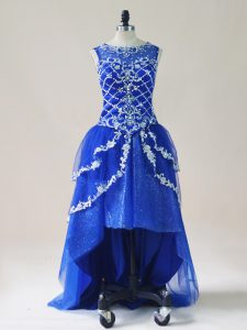 Sleeveless High Low Beading and Appliques Zipper Cocktail Dresses with Royal Blue