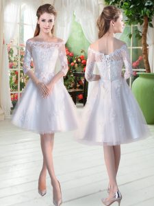 Elegant White A-line Lace and Appliques Cocktail Dress Lace Up Tulle Half Sleeves Knee Length