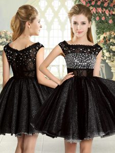 Smart Square Sleeveless Cocktail Dresses Mini Length Beading Black Tulle