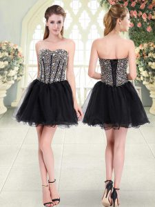 Enchanting Black A-line Tulle Sweetheart Sleeveless Beading Mini Length Lace Up Club Wear