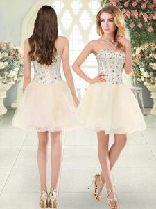 Champagne Lace Up Cocktail Dress Beading Sleeveless Mini Length