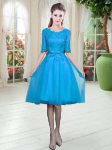 Cute Tulle Half Sleeves Knee Length Cocktail Dresses and Lace