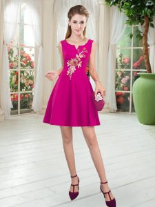 Superior Fuchsia A-line Scoop Sleeveless Satin Mini Length Zipper Appliques Cocktail Dresses