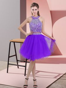 Designer Sleeveless Knee Length Beading Backless Club Wear with Purple