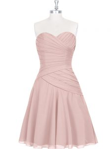 Eye-catching Mini Length Pink Cocktail Dresses Sweetheart Sleeveless Zipper
