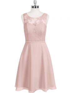 High Quality Baby Pink Chiffon Clasp Handle Cocktail Dresses Sleeveless Mini Length Lace